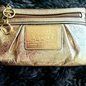 "Gold Coach ""poppy"" wristlet/mini bag"